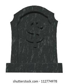 gravestone with dollar symbol on white background - 3d illustration