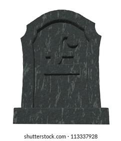 gravestone with english pound symbol on white background - 3d illustration
