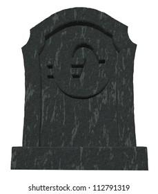 gravestone with euro symbol on white background - 3d illustration