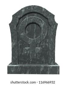 gravestone with female symbol on white background - 3d illustration