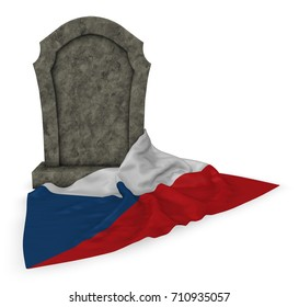 gravestone and flag of Czech Republic - 3d rendering