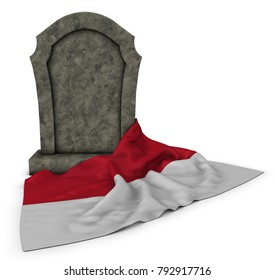 gravestone and flag of monaco - 3d rendering