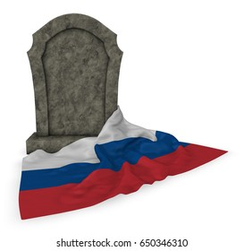 gravestone and flag of russia - 3d rendering