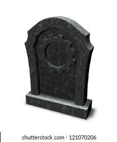 gravestone with gear wheel - 3d illustration