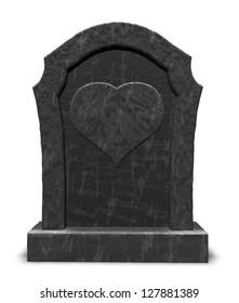 gravestone with heart symbol on white background - 3d illustration