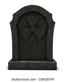 gravestone with nuclear symbol on white background - 3d illustration