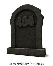 gravestone with number 404 - 3d illustration