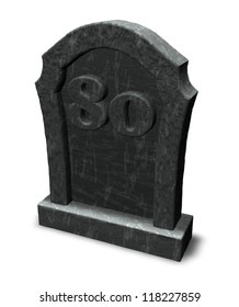 gravestone with number eighty on white background - 3d illustration