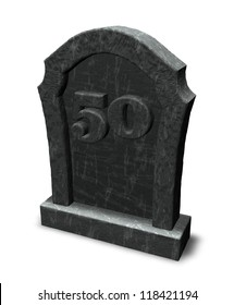 gravestone with number fifty on white background - 3d illustration