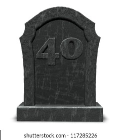gravestone with number forty on white background - 3d illustration