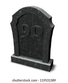 gravestone with number ninety on white background - 3d illustration