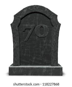 gravestone with number seventy on white background - 3d illustration