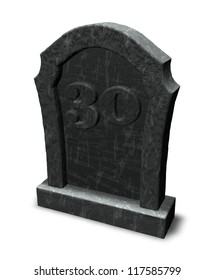 gravestone with number thirty on white background - 3d illustration