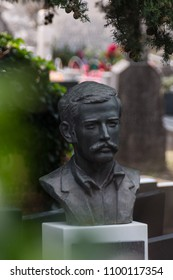 Gravestone on orthodox cemetery with a man statue, bust as tombstone, gravestone - portrait