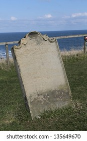 Gravestone at St Mary's church, Whitby, England, setting for the early chapters of Dracula by Bram Stoker.