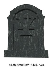 gravestone with yen symbol on white background - 3d illustration
