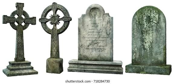 Gravestones 3D illustration