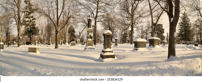 Gravestones shrouded in snow.
