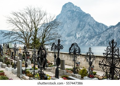 Graveyard beside the Lake Traunsee in Salzkammergut, Austria. In the background is the Mountain Traunstein