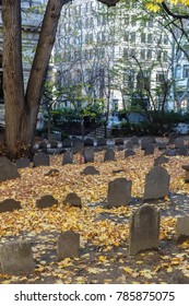 A graveyard in Boston in autumn.