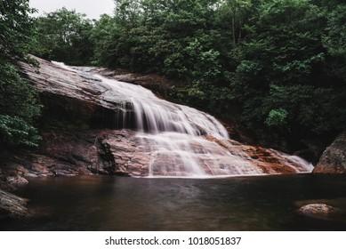 Graveyard Fields Lower Waterfall off the Blue Ridge Parkway; Blue Ridge Mountains, near Asheville, North Carolina