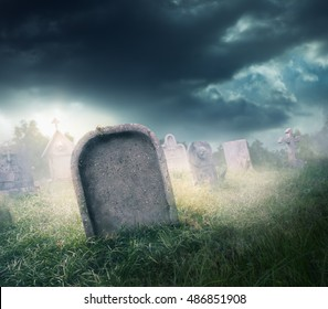 graveyard with fog with dramatic lighting