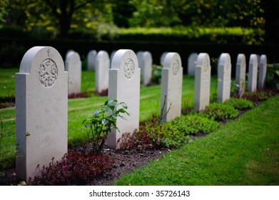 A graveyard with identical tombstone, identical, row