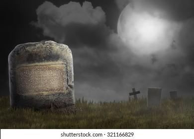 Graveyard on the scary night. Halloween concept background