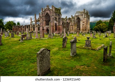 Graveyard and Ruins of Melrose Abbey in Scotland