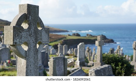 Graveyard in St Ives Cornwall with sea in the background, sunny day Sept 2020