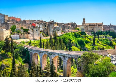 Gravina in Puglia ancient town, bridge and canyon. Apulia, Italy. Europe
