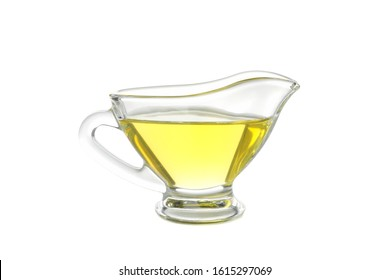 Gravy boat with olive oil isolated on white background