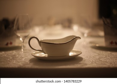 Gravy boat on a table