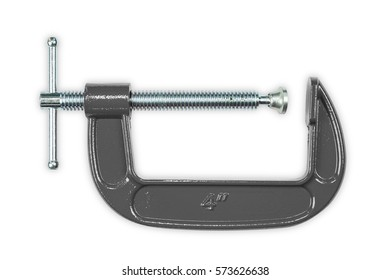 Gray 4 inch C-clamp or G-clamp, isolated on white background with clipping path