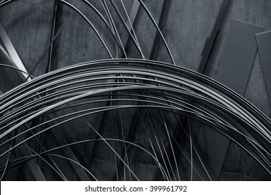 Gray abstract background made of thin metal strips