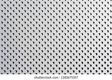 gray abstract background on the based of metal, white circles and shadows, texture of the white surface with a lot of round holes