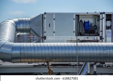 Gray Air Handling Unit for the central ventilation system on the roof of the mall