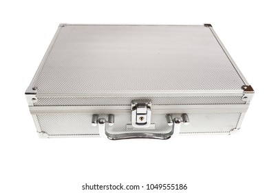 gray Aluminum case with conventional lock
