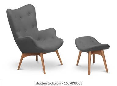 Gray anthracite color armchair and small chair for legs. Modern designer armchair on white background. Textile armchair and chair. Series of furniture