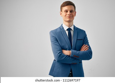 gray background and business man in suit
