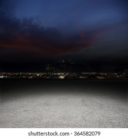gray background of street for your decoration and dark blue sky and city lights