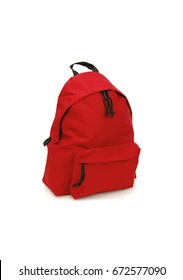 Gray backpack isolated over white background