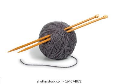 Gray ball of yarn for knitting