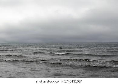 Gray Baltic sea in calm day.