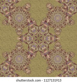 In gray, beige and brown colors. Ikat damask seamless pattern background tile.