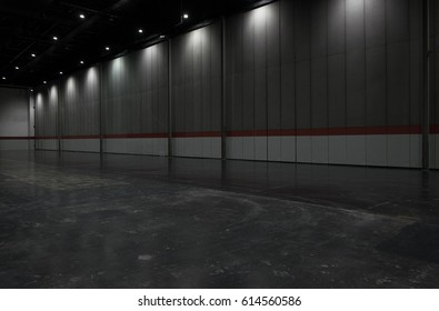 Gray big clean empty industrial hall as warehouse or office space