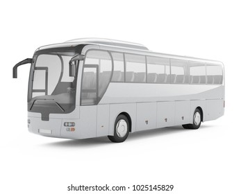 Gray big tour bus isolated on a white background. 3D rendering