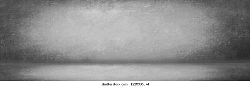 gray and black chalk board wall studio background, blank room and empty banner