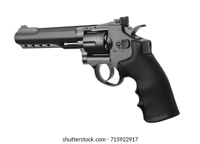 gray with black pistol revolver isolated on white background