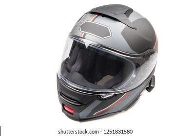 gray black shiny motorcycle flip up helmet flip-front isolated